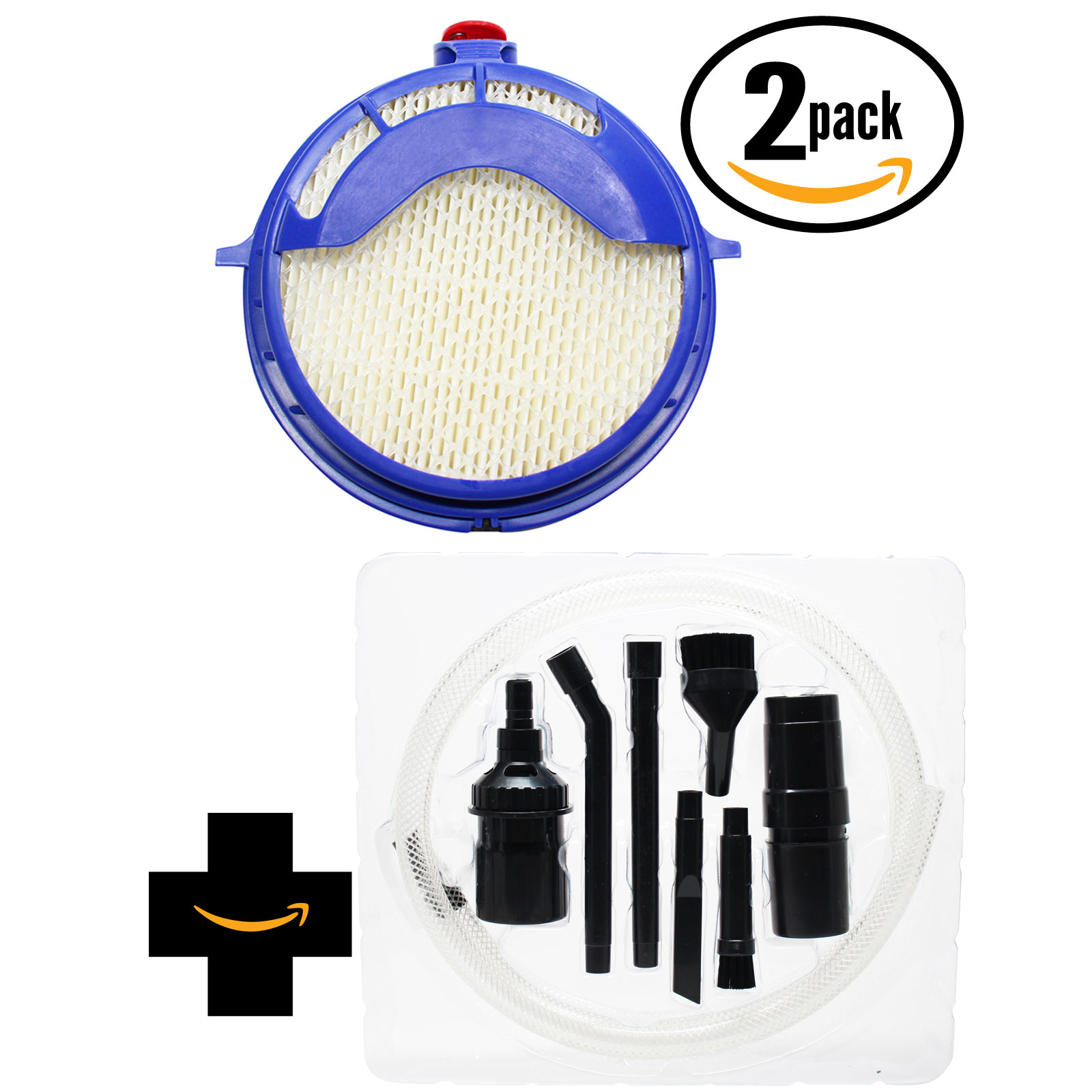2-Pack Replacement Dyson DC25 Blueprint - Limited Edition Vacuum Post HEPA Filter with 7-Piece Micro Vacuum Attachment Kit - Compatible Dyson 916188-05, 91618805, 916188 05 Post HEPA Filter