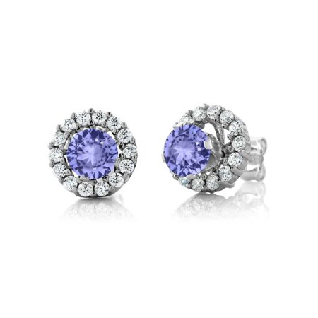 - 1.31 Ct Round Blue Tanzanite Sterling Silver Stud Earrings with Jackets