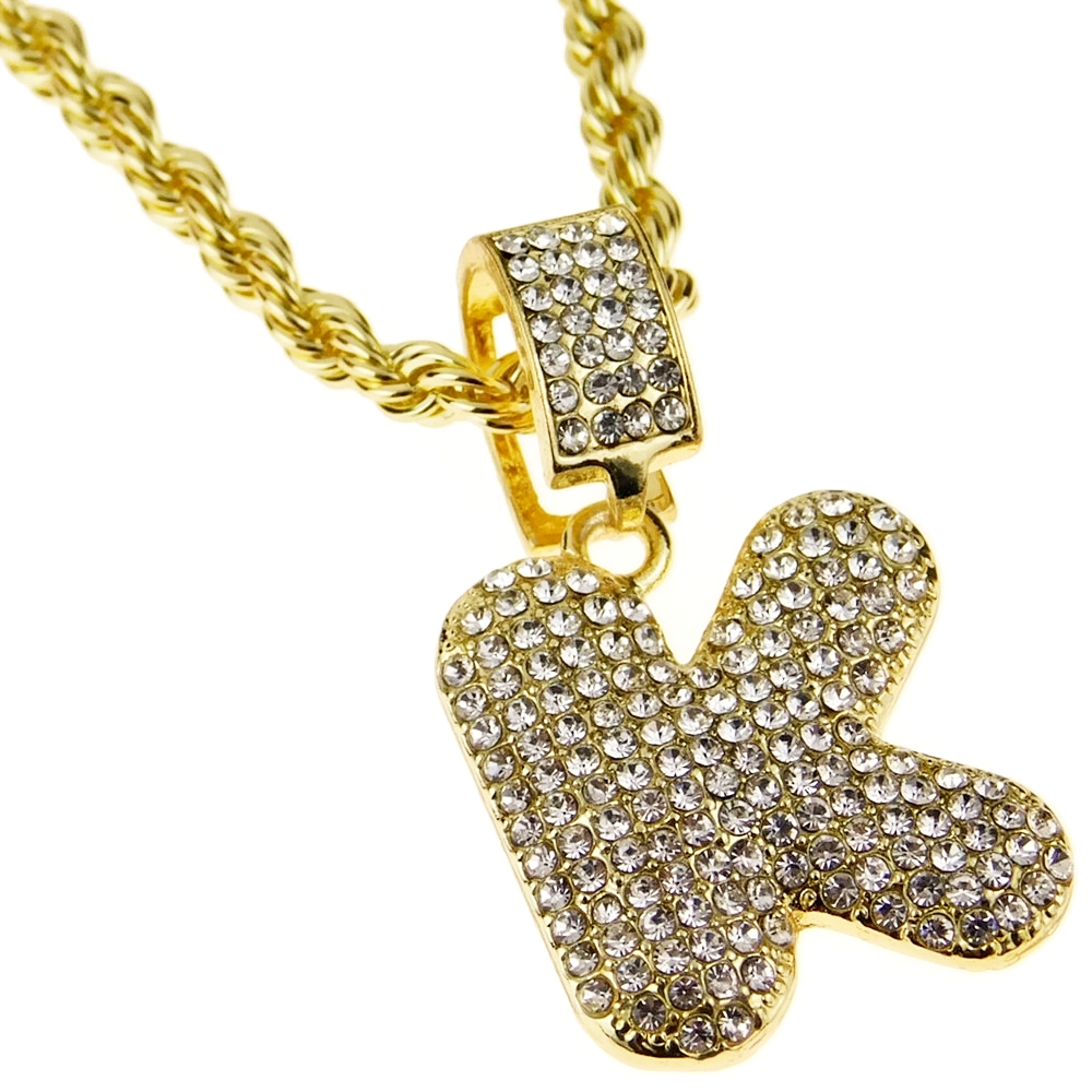 "Bubble Letter K Block Initial 24"" Rope Chain Iced-Out"