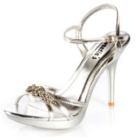 fcd7fd7faa22d Product Image Sweetie s Shoes Silver Strappy Metallic Bonnie Rhinestone  Sandal