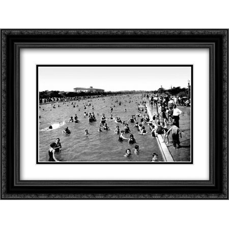 Fleishhacker Pool, San Francisco, CA 2x Matted 24x18 Black Ornate Framed Art Print by Vintage San Francisco (Pool Swan)