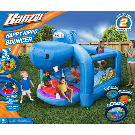 Banzai Happy Hippo Bouncer (Inflatable Jumping Bounce House Backyard Summer Bouncing Jump Castle)