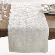 Saro Lifestyle 197.W1572B 15 x 72 in. Juneau Rectangle Faux Fur Table Runner, White
