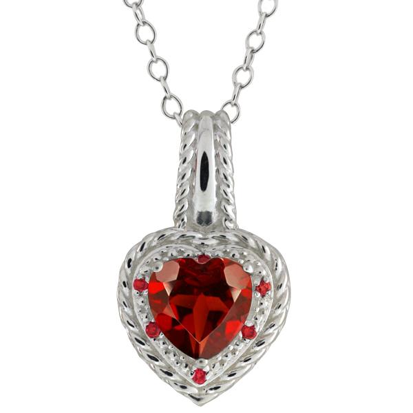 2.05 Ct Heart Shape Red Garnet Gemstone 14k White Gold Pendant