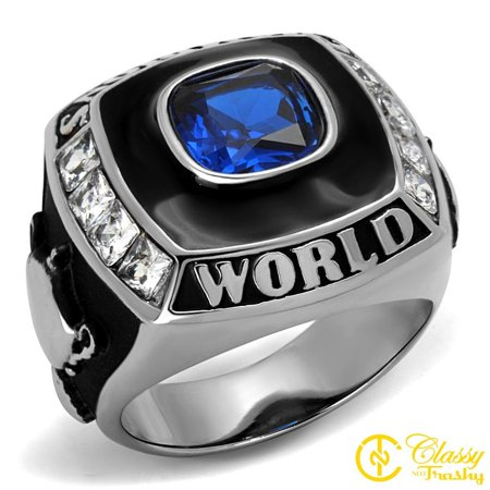 Classy Not Trashy® World Champion Design Blue Synthetic Stainless Steel Men's Ring Size 8 (Word Series Ring)
