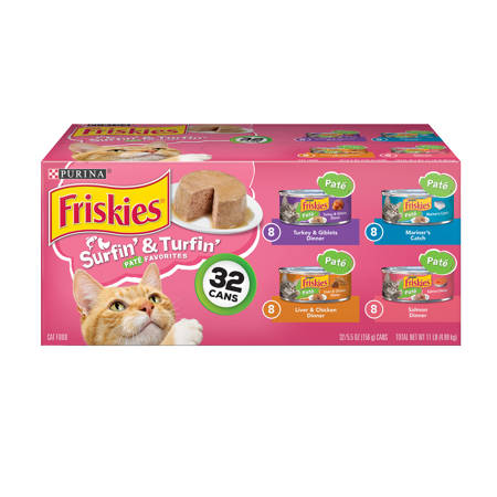 Friskies Pate Wet Cat Food Variety Pack, Surfin' & Turfin' Favorites - (32) 5.5 oz. Cans