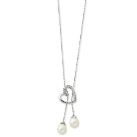 Sterling Silver FW Cultured Pearl & CZ Two Become One 18in Heart (Black Cultured Fw Pearl Necklace)