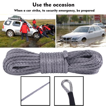 Synthetic Winch Rope - 6MMx15M Winch Cable Gray Winch Rope