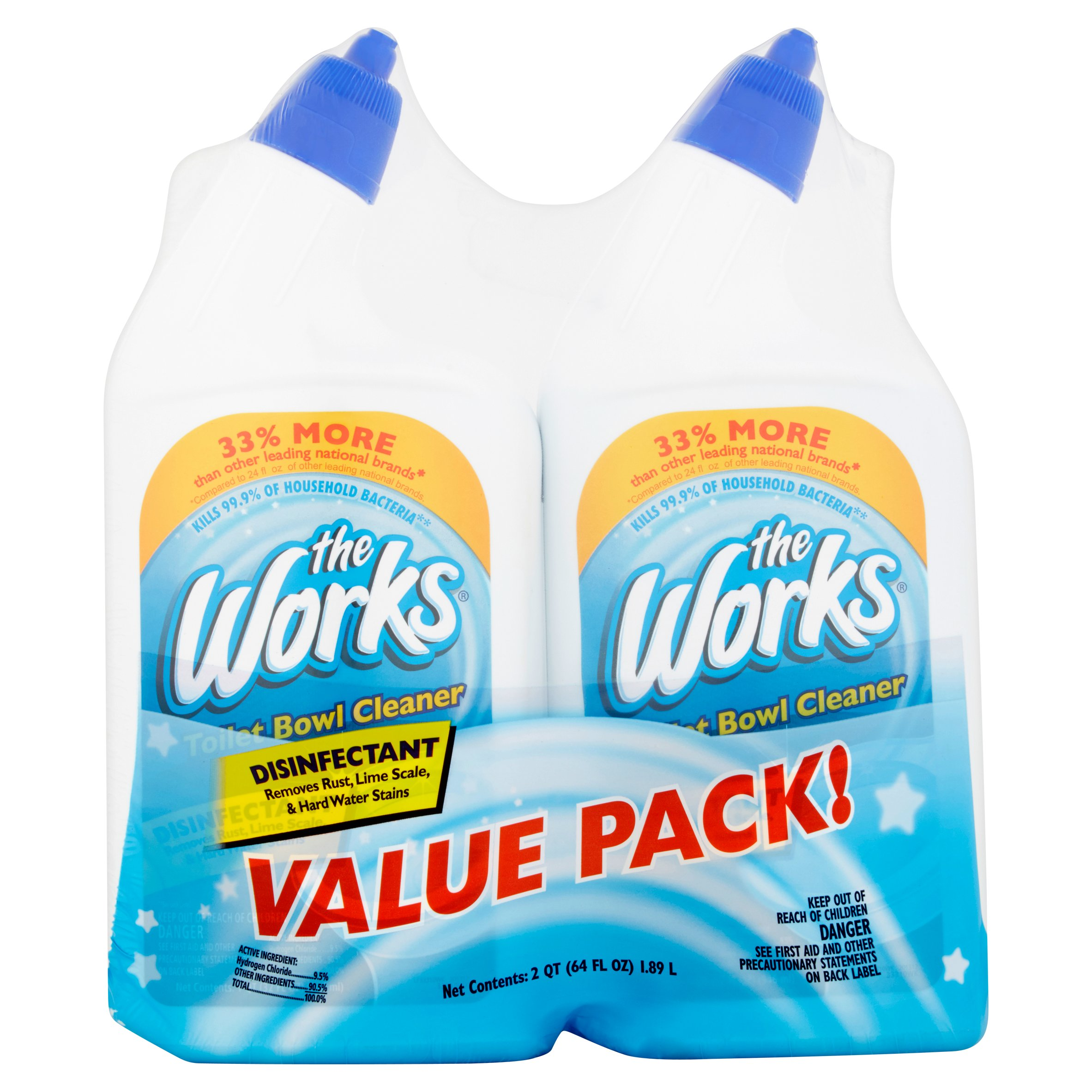 Delicieux The Works Disinfectant Toilet Bowl Cleaner Value Pack, 64 Fl Oz