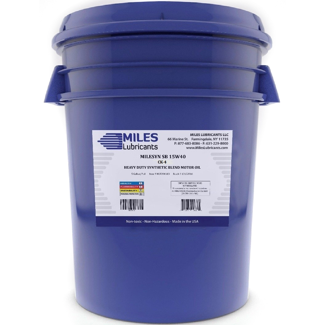 Milesyn SB 15w40 API CJ-4, Synthetic Blend Diesel Motor Oil, 5-Gallon Pail