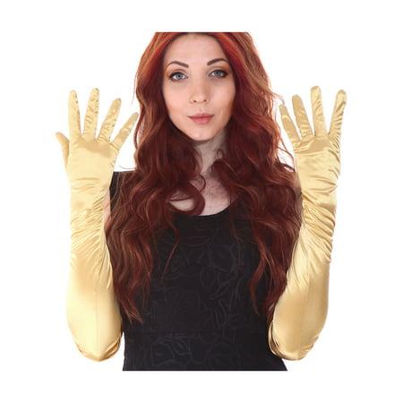 EPYA Women's Long Satin Elbow Five Finger Gloves Bridal Wedding Party, Gold