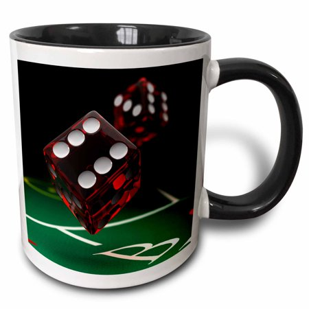 3dRose Craps table showing two dice being thrown gamble gambling - Two Tone Black Mug, 11-ounce - Craps Table Measurements