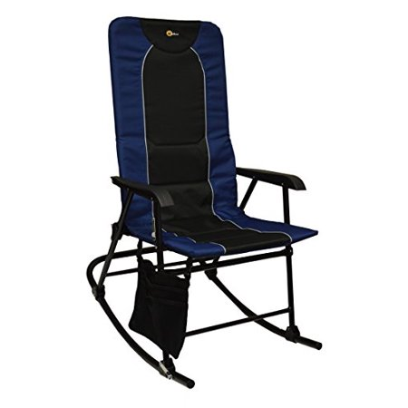 24' Depth - Faulkner Rocker Chair, 42.1 Inch Depth x 24 Inch Width x 35.8 Inch Height, 300 Pound Weigh Capacity, Foldable, Blue/ Black