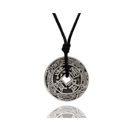 Fashionable Chinese Zodiac I-ching Silver Pewter Charm Necklace Pendant Jewelry With Cotton Cord