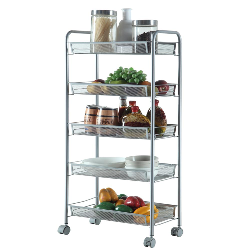 Ktaxon Metal Storage Rolling Cart W/ 5 Baskets Shelf Organizer Trolley,Home Office  Organizer