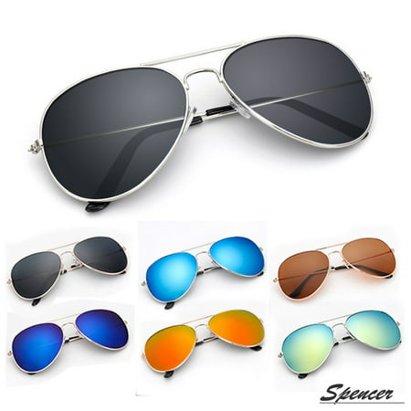 Spencer Retro Aviator Sunglasses Ultralight Driving UV400 Mirrored Outdoor Glasses for Men (Blue Mirrored Aviator Sunglasses)