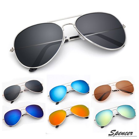 Spencer Retro Aviator Sunglasses Ultralight Driving UV400 Mirrored Outdoor Glasses for Men (Designer Mirrored Aviator Sunglasses)