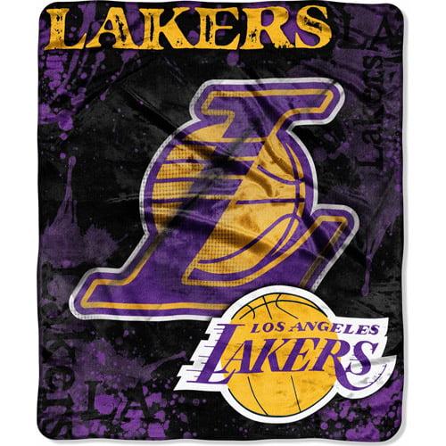 """NBA Dropdown 50"""" x 60"""" Royal Plush Raschel Throw, Lakers"""