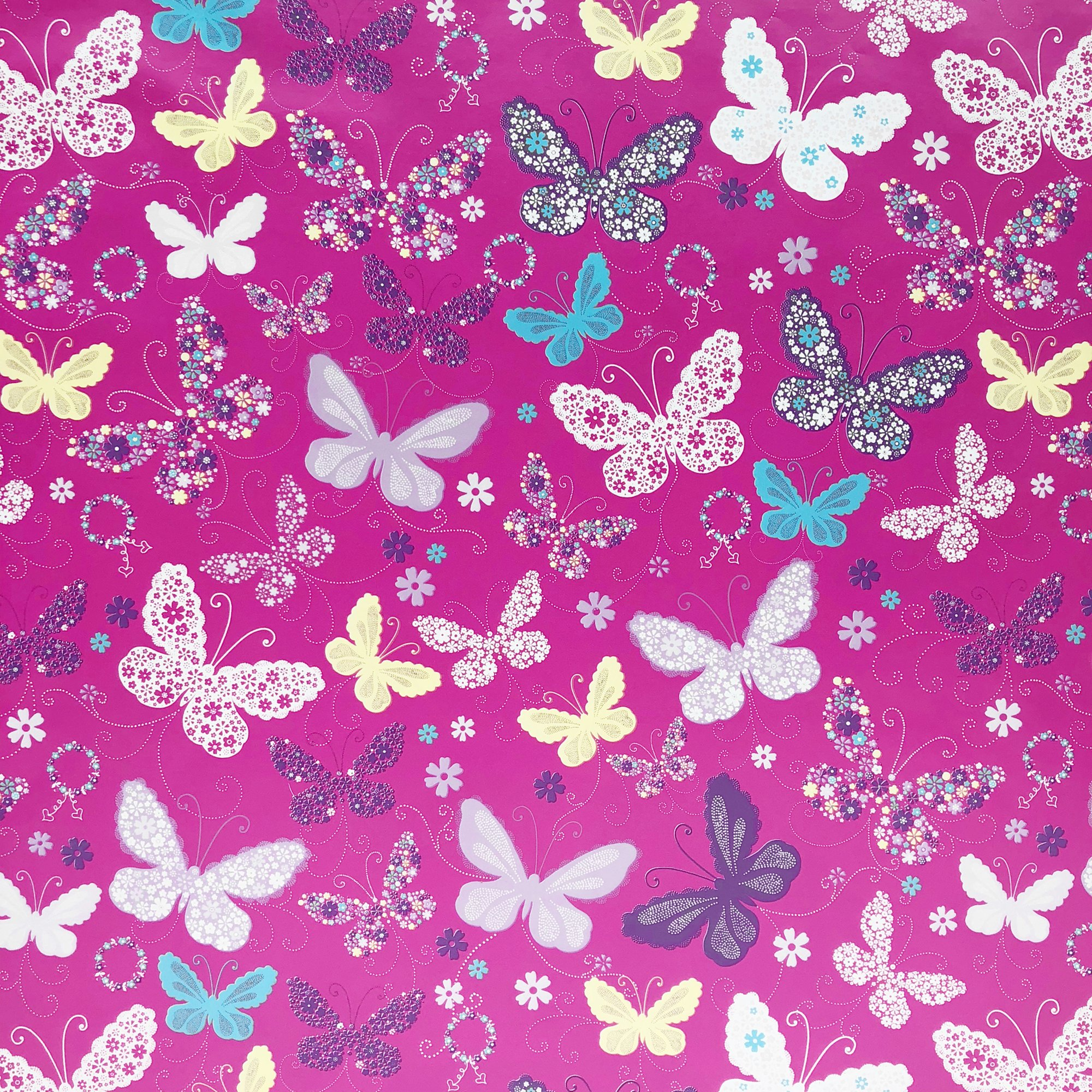 """Jillson & Roberts Gift Wrap, Butterfly Pink, 5' x 30"""" Rolls (8 Pcs)"""