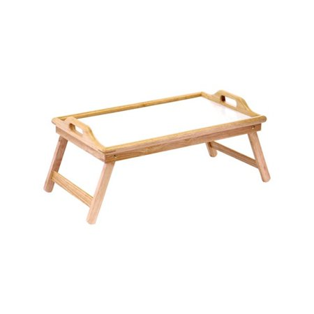 Home & Loft Bamboo/White Folding Breakfast In Bed Tray With Handles | BT2100 (Loft Rectangular Tray)