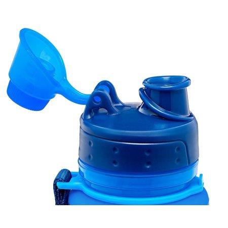 Silicone Water Bottle Foldable Collapsible Anti Leakage, Leak Proof Twist Cap, BPA Free FDA Approved Foldable Water Bottle for Sport, 17oz/500ml, Blue - image 4 de 7