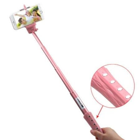 Insten Pink Selfie Stick (with Built-In Bluetooth Wireless Remote Shutter & Zoom In Out) 40\