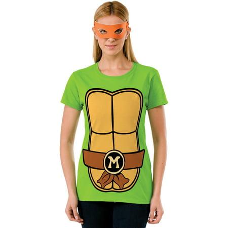 Women's Teenage Mutant Ninja Turtles Michaelangelo T-Shirt Mask Set (Womens Ninja Turtle Shirt)