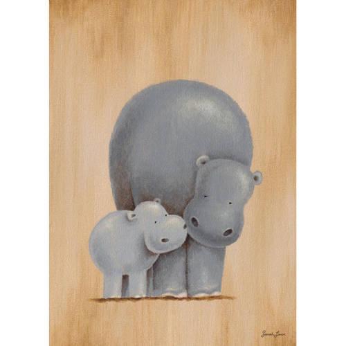 Oopsy Daisy's Safari Kisses Hippos Canvas Wall Art, 10x14