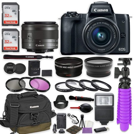 Canon EOS M50 Mirrorless Digital Camera (Black) Premium Accessory Bundle with EF-M 15-45mm IS STM Lens (Graphite) + Canon Water Resistant Case + 64GB Memory + HD Filters + Auxiliary