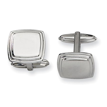 Lex & Lu Chisel Stainless Steel Polished Cuff Links 16mm LAL41248 ()