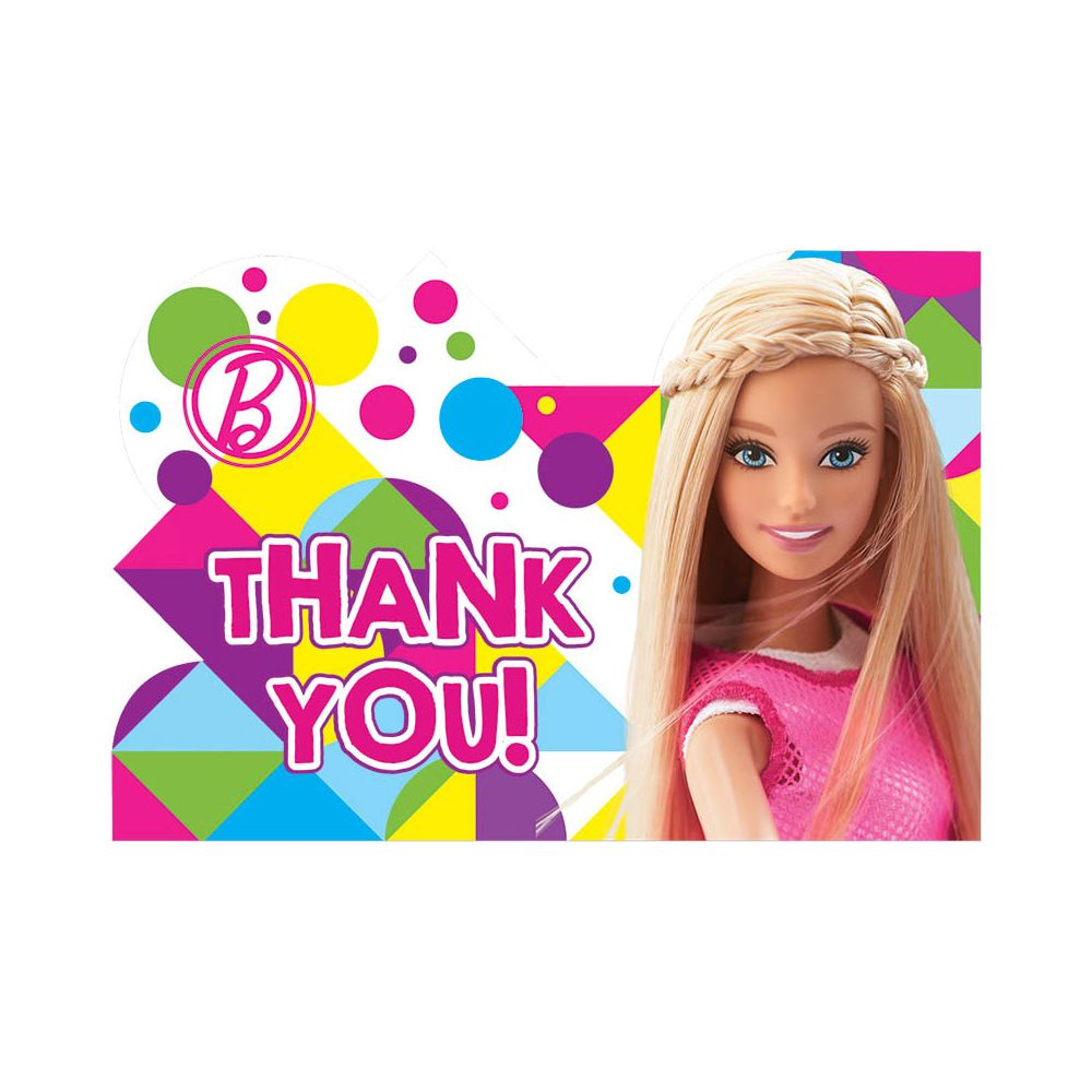 Barbie Sparkle Thank You Notes (8 Pack) - Party Supplies