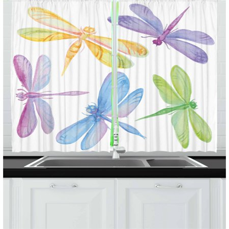Dragonfly Curtains 2 Panels Set, Colorful Watercolor Winged Bugs Children Kids Nursery Spring Themed Artsy Picture, Window Drapes for Living Room Bedroom, 55W X 39L Inches, Multicolor, by Ambesonne](Theme For Kids)