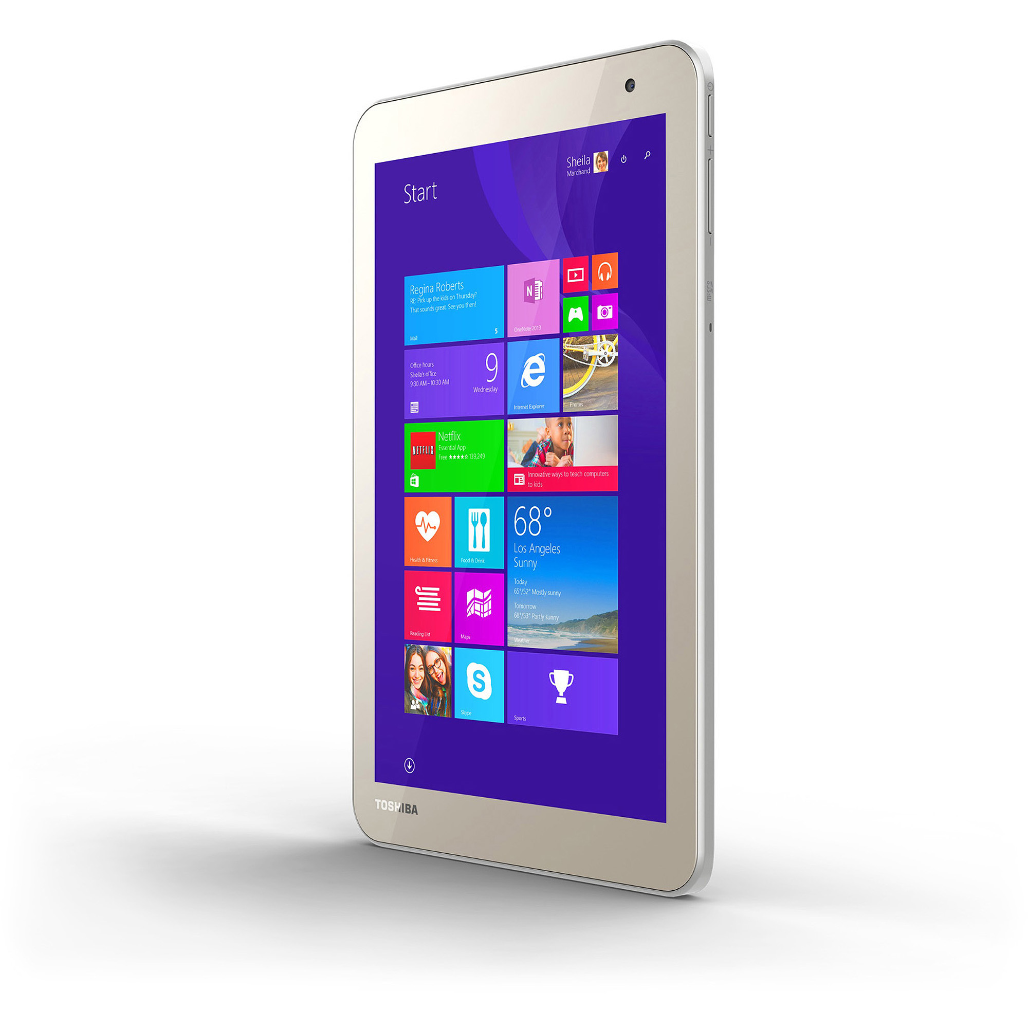 "Toshiba Encore 2 8"" Tablet 64GB Intel Atom Z3735F Quad-Core Processor Windows 8.1, Matte Satin Gold"