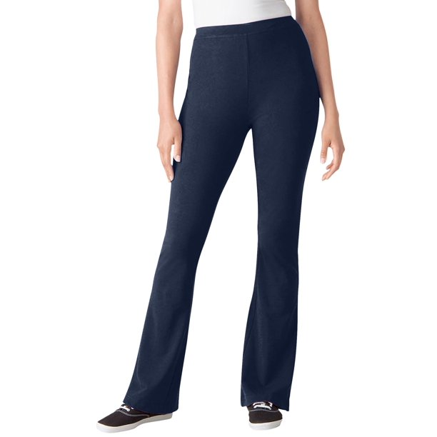 Navy Blue Cotton Pants Womens : Woman Within Women's Plus Size Tall Stretch Cotton Bootcut Yoga Pant Pant