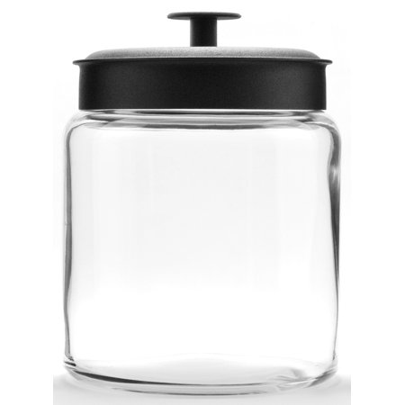 Anchor Hocking Montana Glass Jar with Airtight Black Metal Lid, 96oz ()