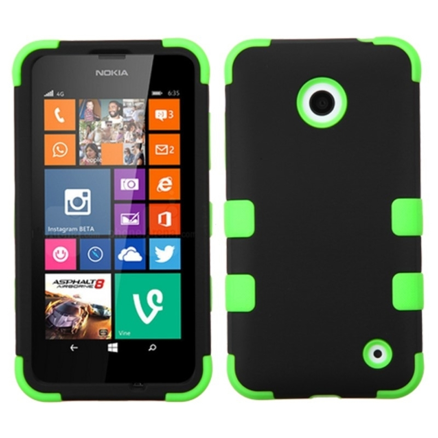 Insten Black/Electric Green TUFF Hybrid Hard Shockproof Phone Protector Case For Nokia Lumia 630 635