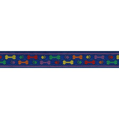 3/8 Inch Rainbow Paws and Bones Jacquard Ribbon Closeout , 3 Yards