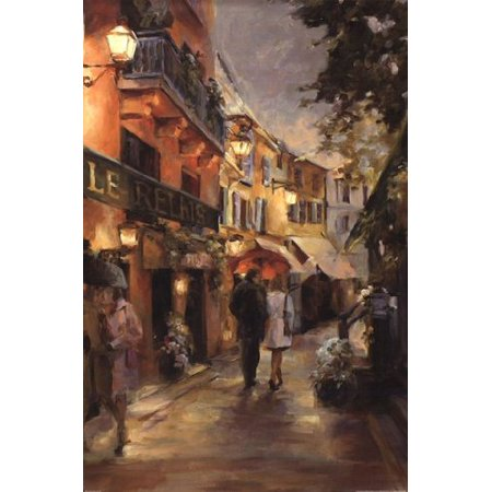 - Evening  Paris by Marilyn Hageman 36x24 Art print Poster   Vintage Romantic Street Cityscape landscape