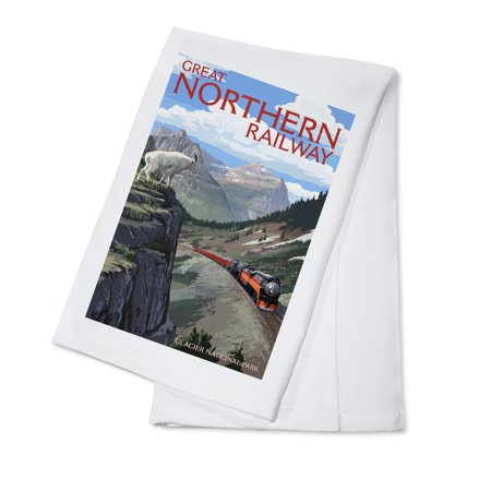 Glacier National Park, Montana - Great Northern Railway - Lantern Press Artwork (100% Cotton Kitchen (Great Northern Railroad)