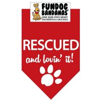 Fun Dog Bandana - Rescued and Lovin' It - One Size Fits Most for Med to Lg Dogs, red pet scarf