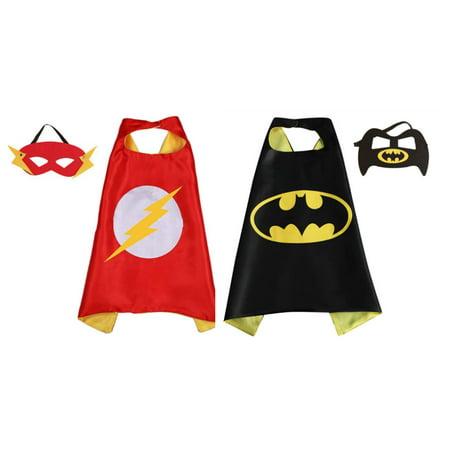Flash & Batman Costumes - 2 Capes, 2 Masks with Gift Box by Superheroes - Handmade Batman Costume
