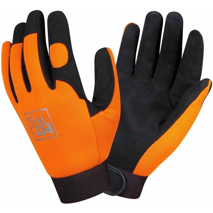 Orange Pit Pro Work Gloves with Black Synthetic Leather Palm, Pack of 12 Pairs