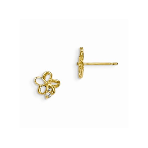 14K Yellow Gold Madi K Flower with CZ Leverback Earrings from Roy Rose Jewelry