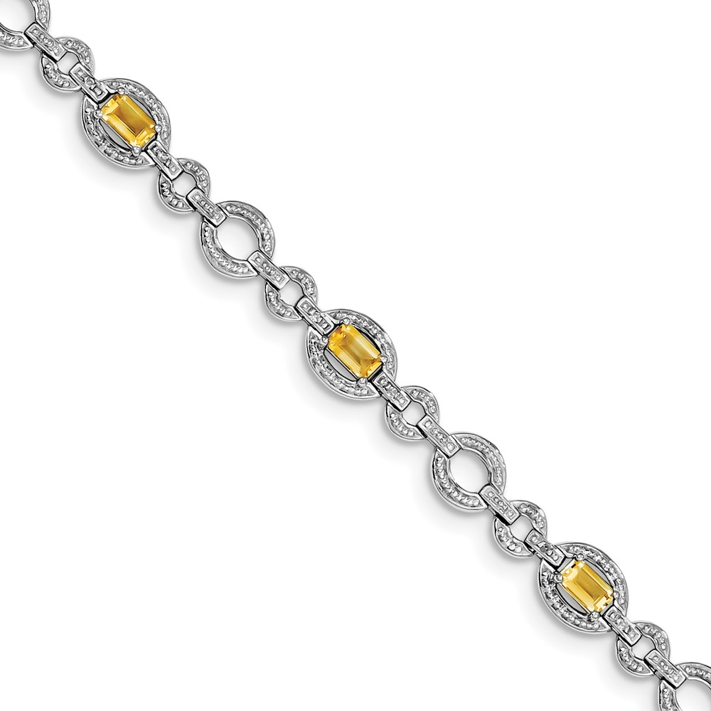 "925 Sterling Silver (0.06cttw) Diamond and Citrine Oval Link Bracelet -7"" (7in x 7mm) by"