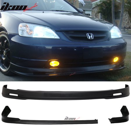 Fits 01-03 Honda Civic EM2 2DR MU Style Front + NEW TR Style Rear Bumper Lip