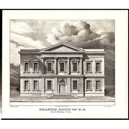 The Branch Bank Of The United States Wall Street New York Erected In 1825  From Views Of The Public Buildings In The City Of New York Correctly Drawn On Stone By A J Davis 1827  Poster Print By After