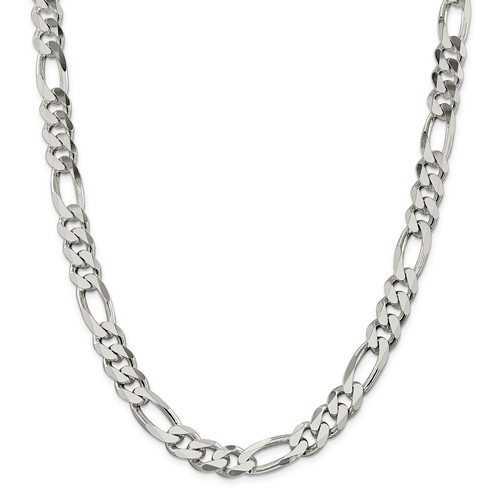 Sterling Silver 9in 10.75mm Men's Figaro Chain Bracelet