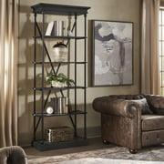 Weston Home Cabana Cornice Wood and Iron Bookcase, Oak