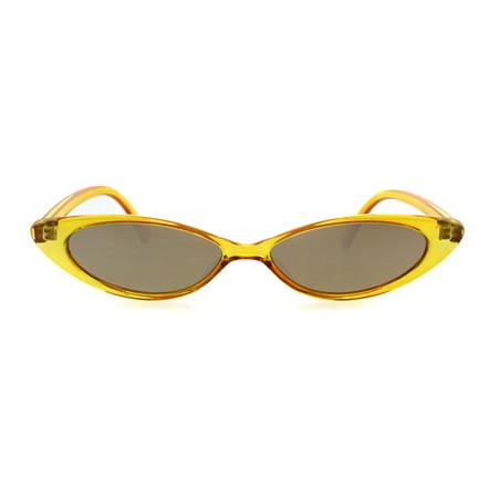 Womens Color Mirror Narrow Cat Eye Gothic Mod Fashion Sunglasses (Mod Fashion For Women)