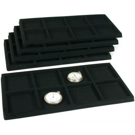 5 Black 8 Slot Pocket Watch Jewelry Display Case Tray Inserts